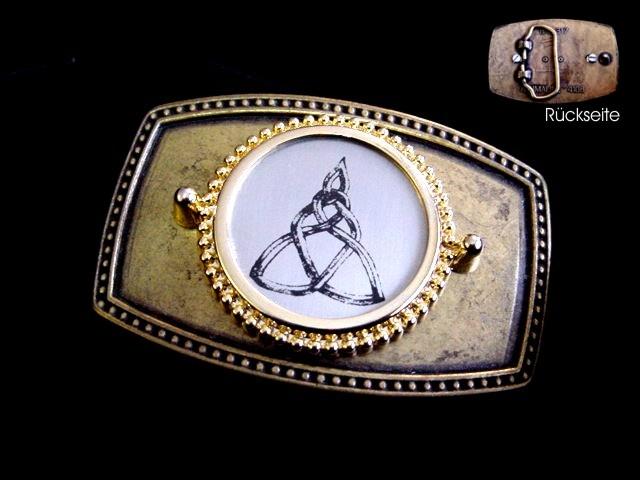 Gürtelschnalle mit Inlay, Metallscheibe gelasert, eigenes Motiv