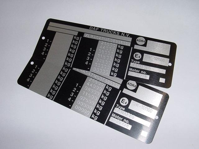 Typenschild / Fahrzeugschild