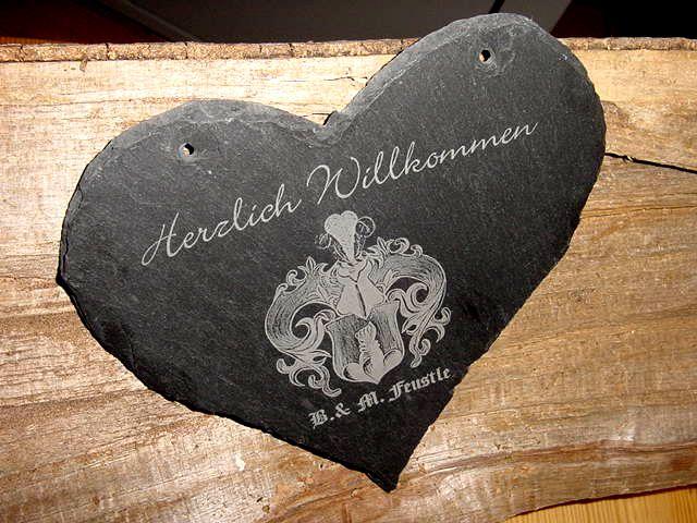 Schiefer Herz m.Wappen, gelasert