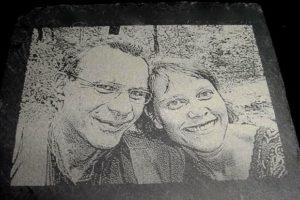 Laser-Gravur Foto auf Schiefer