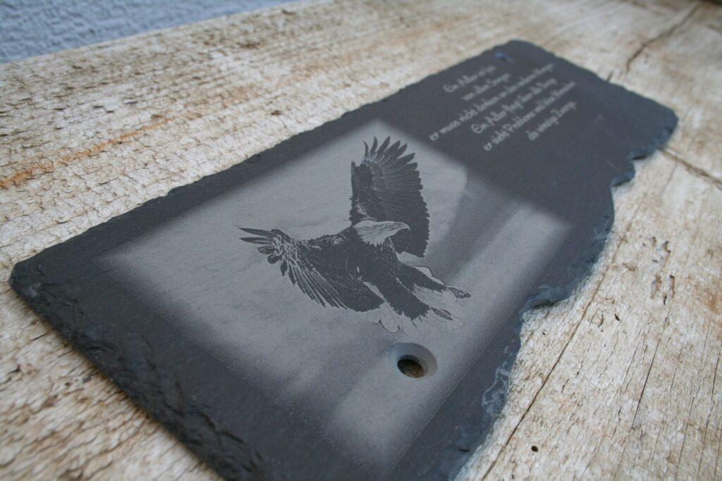 Schieferplatte mit Foto & Text